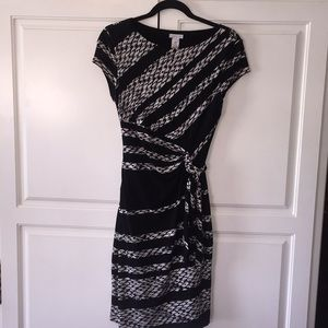 Caché faux wrap dress black & white